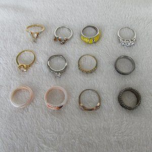 Collection Lot 12 Costume Jewelry Rings Sz 8-8.75